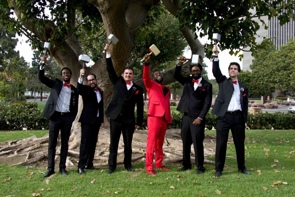 nerdy wedding, groom red suit, groom squad, groomsmen, non traditional wedding, oxnard wedding photograph
