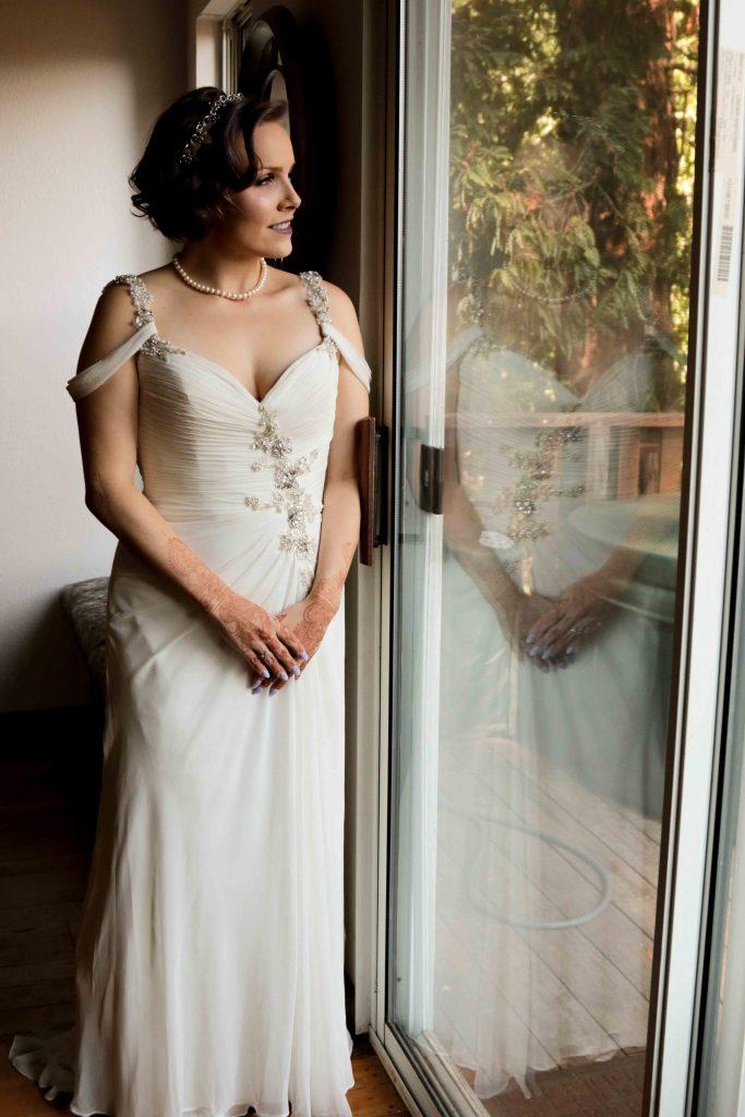 bride david's bridal dress, wedding in the redwoods