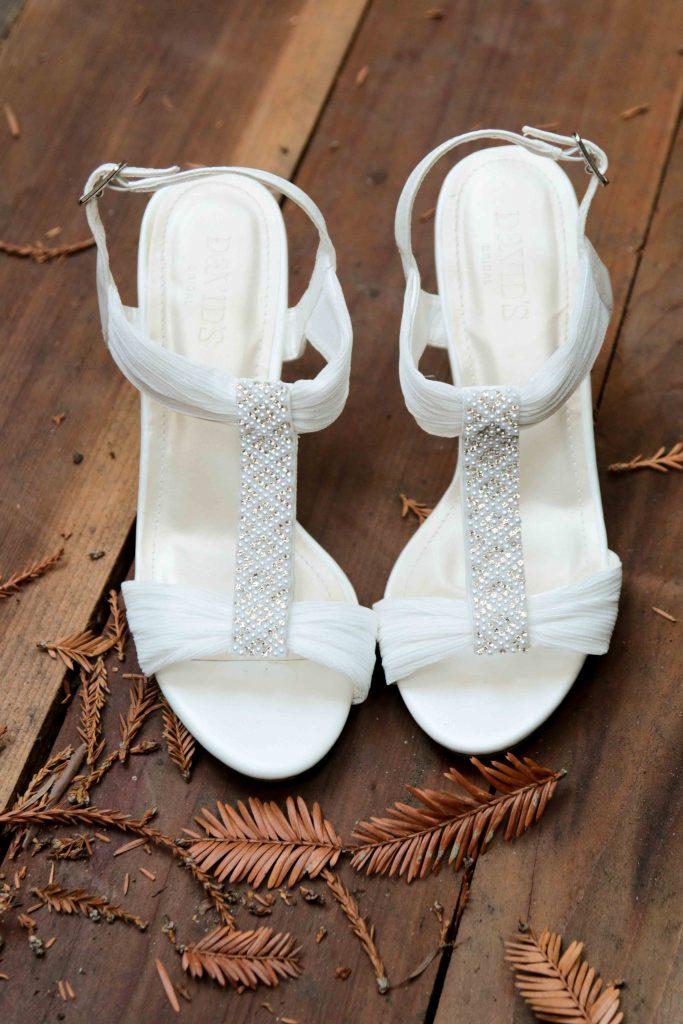 bridal heels, wedding in the woods