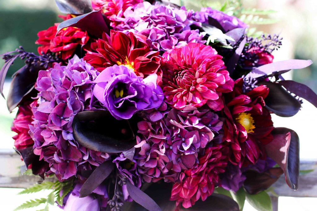purple bridal bouquet, halloween wedding, fall wedding bouquet