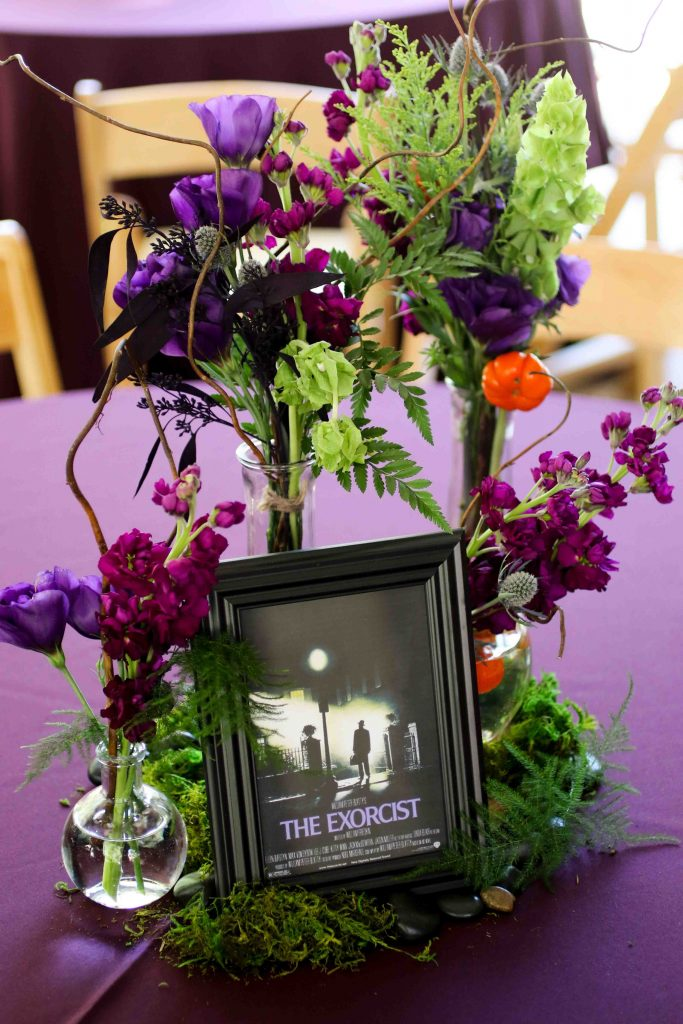 halloween wedding, horror wedding centerpiece