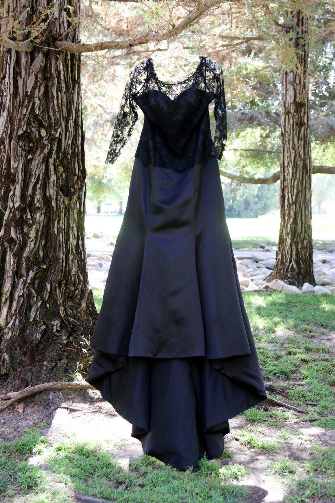 black wedding dress, middle ranch wedding