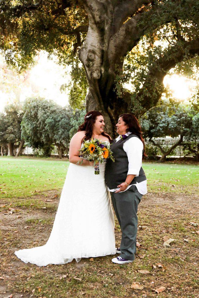 gay wedding, brides, sunflower bridal bouquet, calamigos burbank wedding