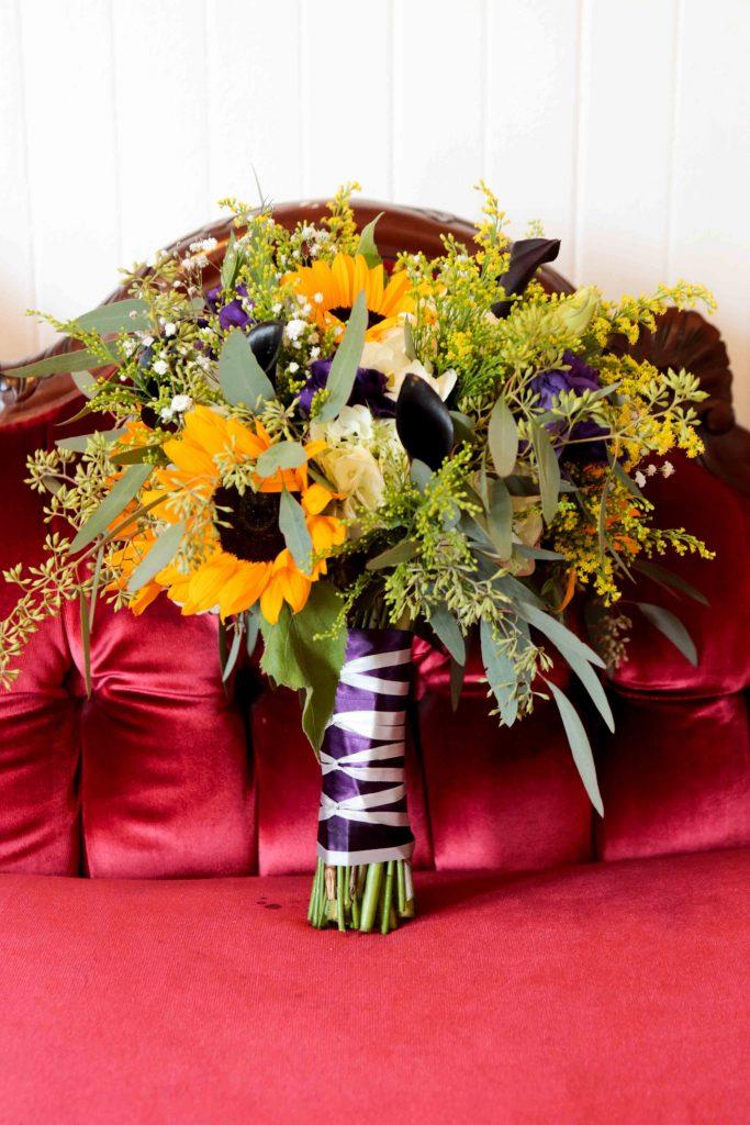 sunflower bridal bouquet, calamigos burbank wedding, purple wedding inspiration