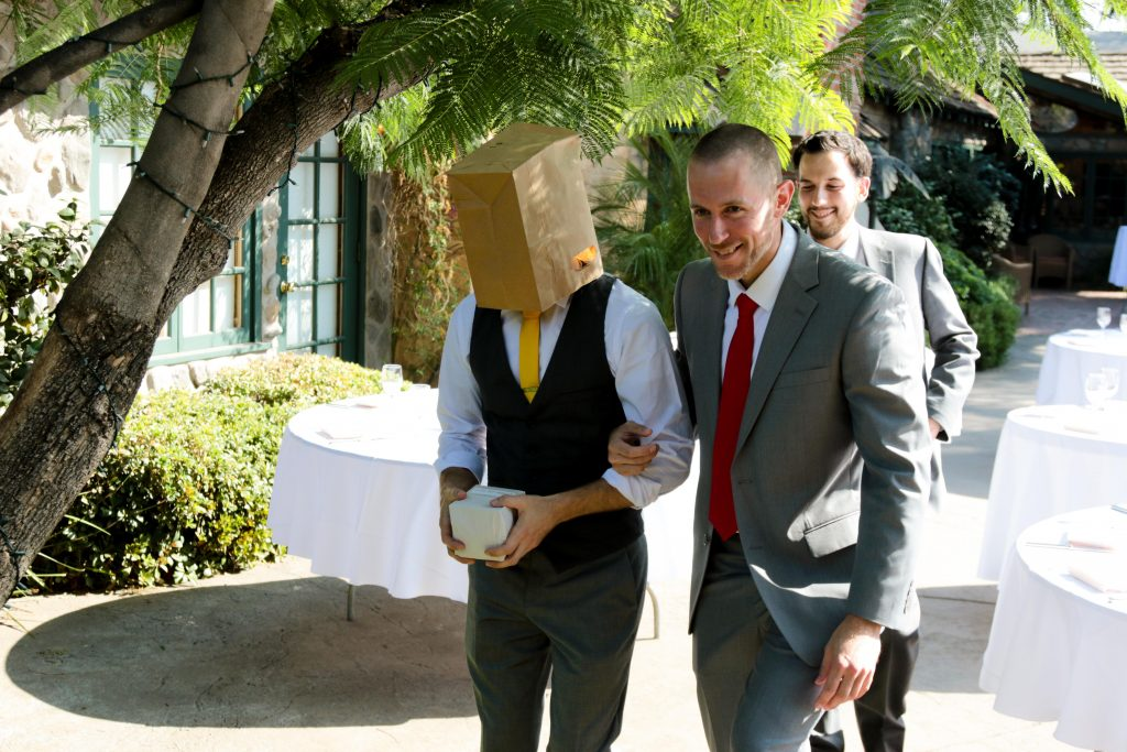 Groom in a Paper Bag, Bride and Groom First Look, Enchanted Manor Wedding, Yellow Wedding Inspiration