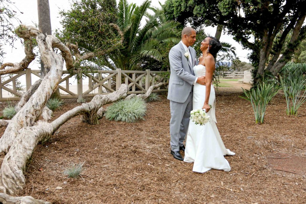 huntley santa monica wedding with bride and groom