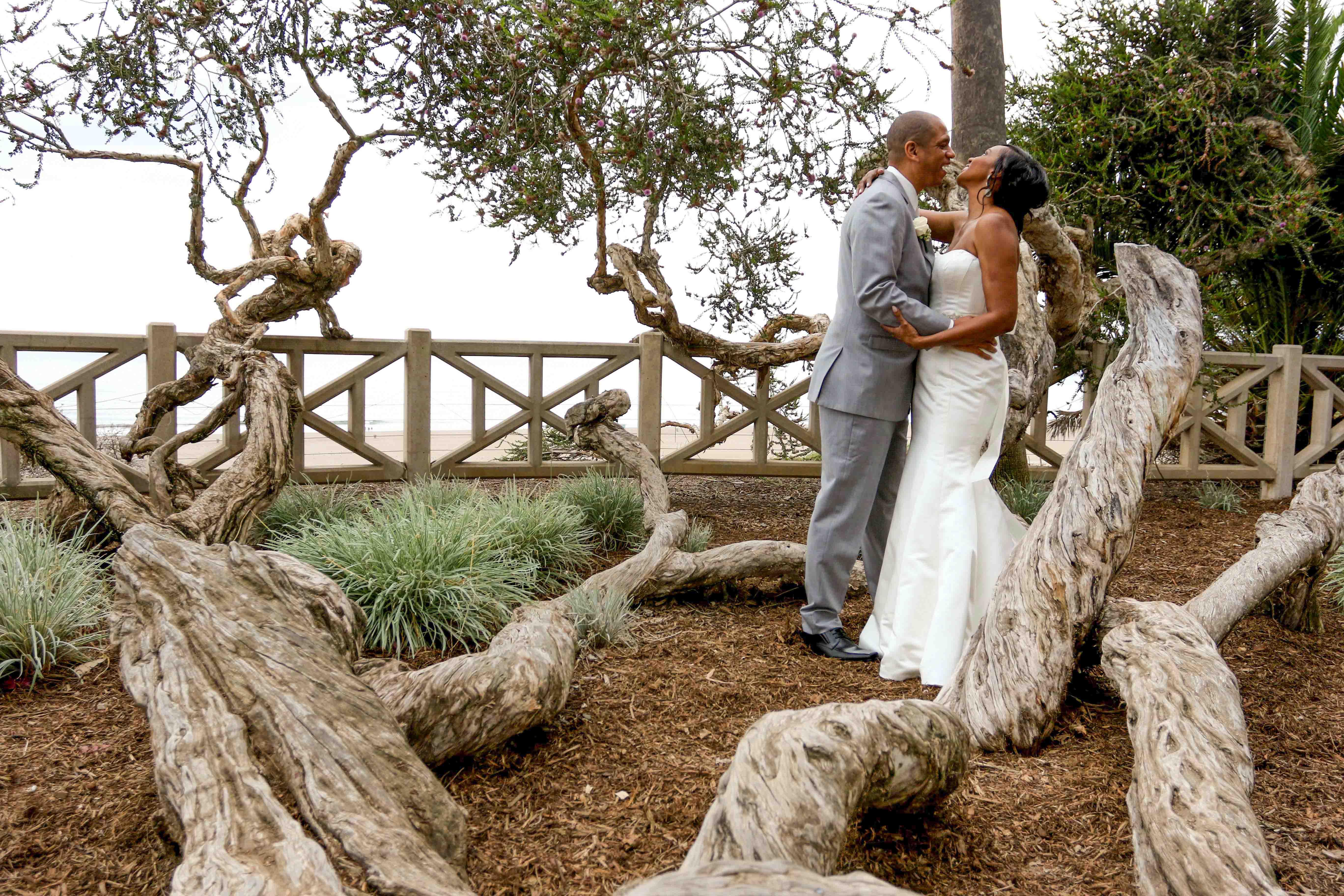 huntley santa monica wedding with bride and groom