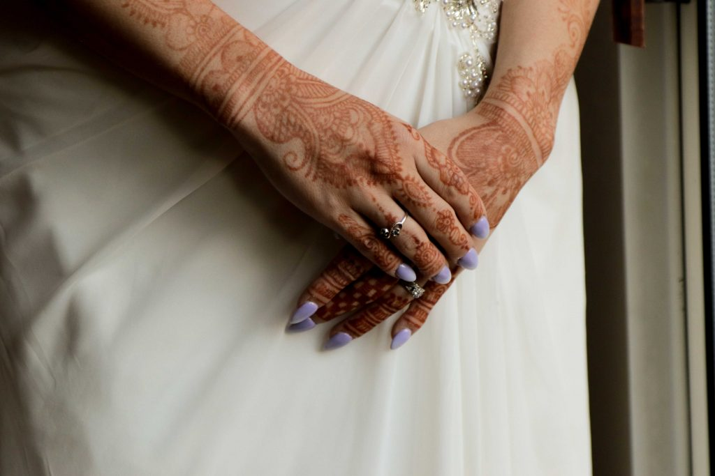 wedding henna, purple nails, bride david's bridal dress, redwood wedding photographer, non traditional wedding
