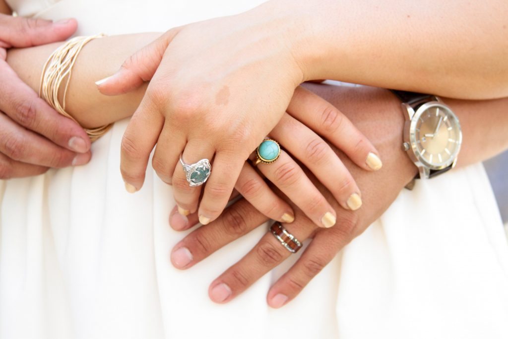 Bride and Grooms Hands, Non Traditional Wedding Rings