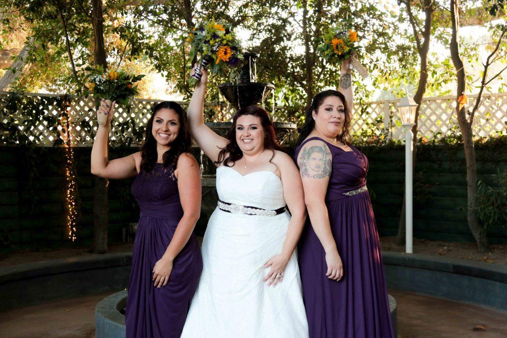 bride and bridesmaids purple wedding inspiration, calamigos burbank wedding, sunflower wedding