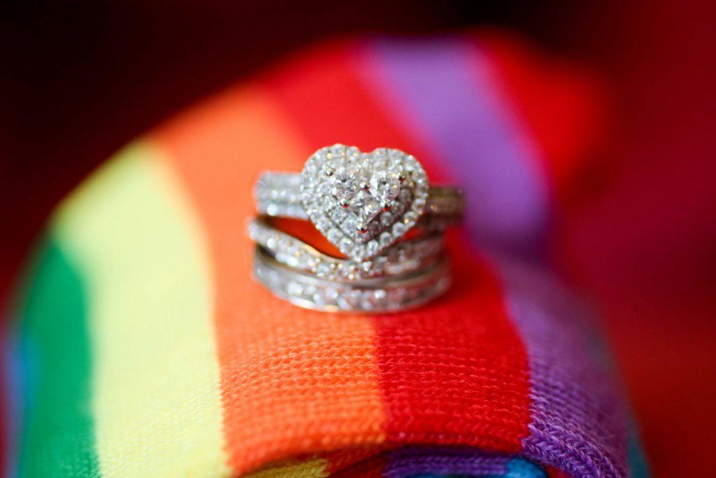 rainbow wedding, wedding rings, brides rings, gay wedding