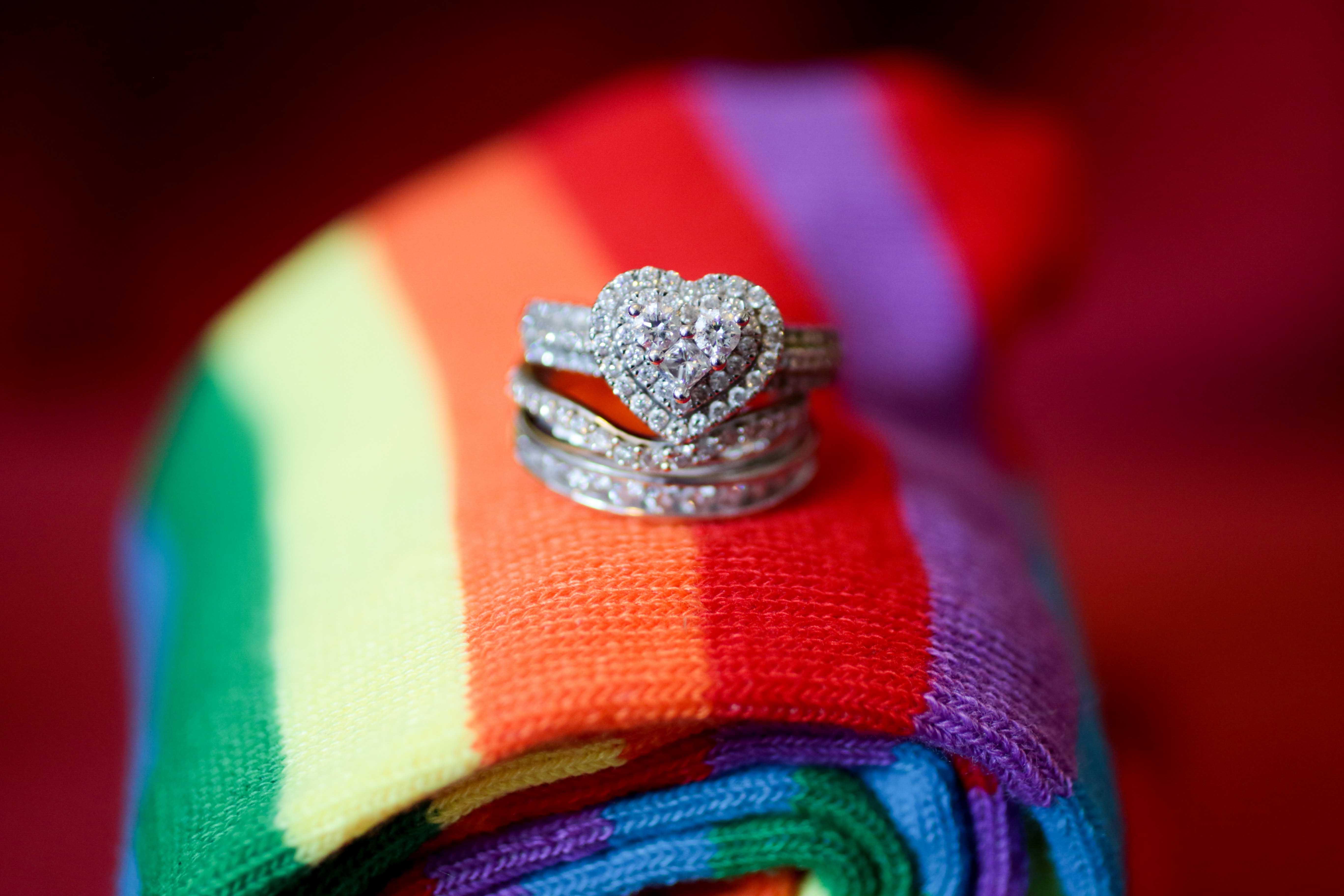 rainbow wedding, wedding rings, brides rings, gay wedding photographer