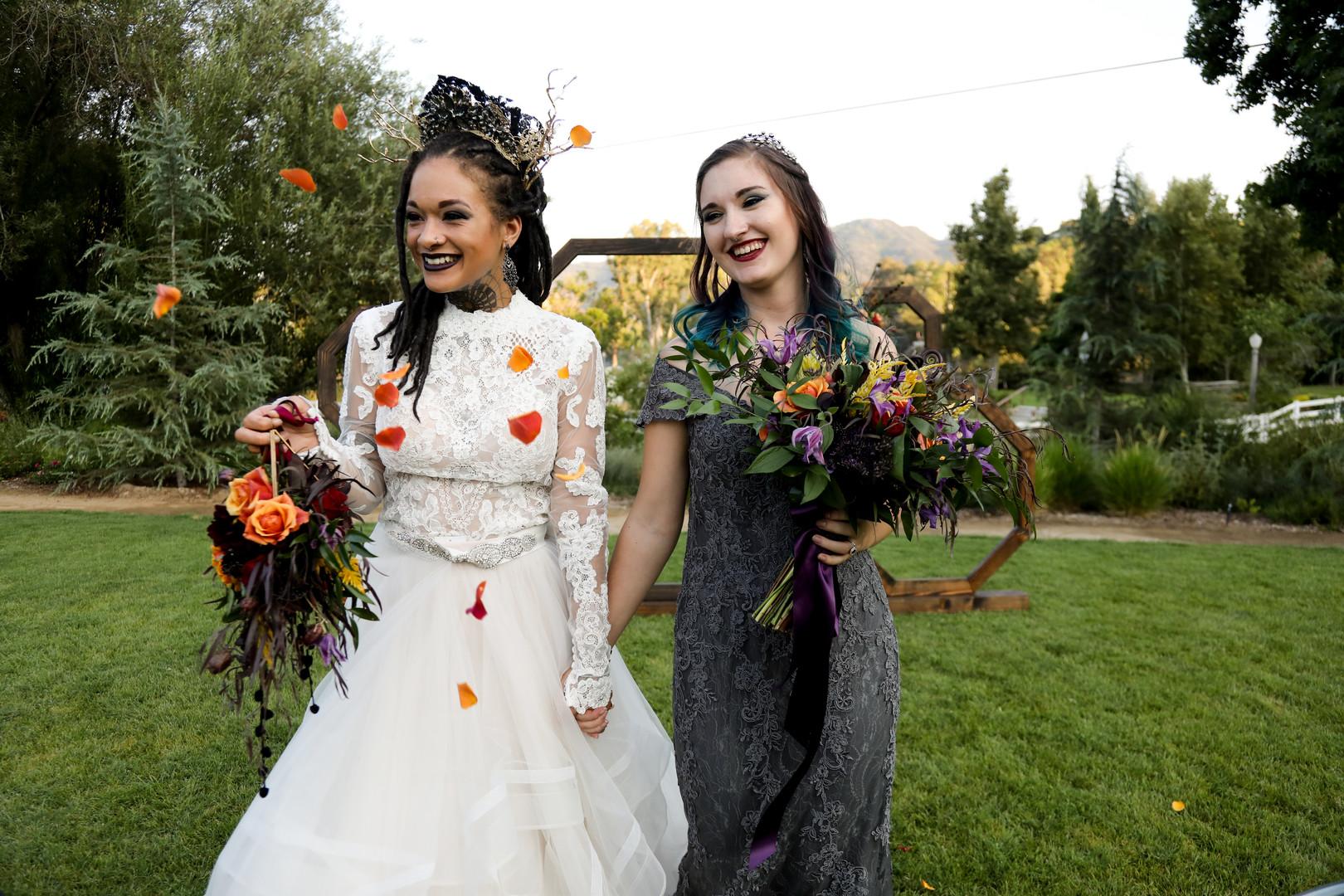 Halloween Wedding Photography, Brides walking down the aisle